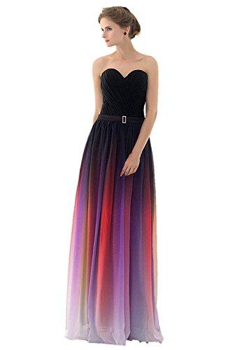 Belt Stock engerla mit Ausschnitt Ombre Länge Mesh Black Purple Damen ärmelloses Kleid V Party Rüschen Abend Büste qq06A