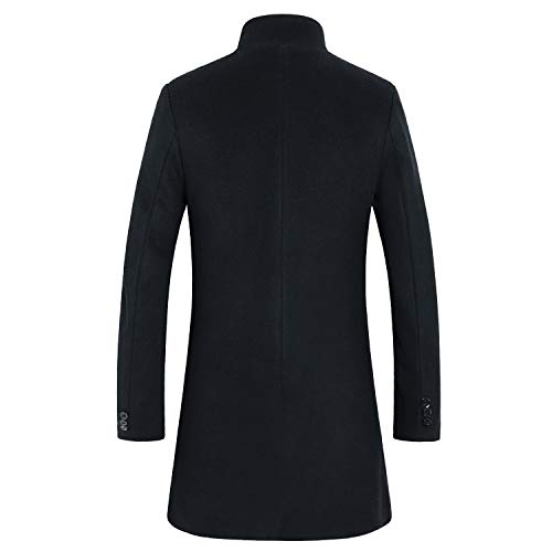 3873d47b Men's Premium Wool Blend Double Breasted Long Pea Coat (Black 2, Large)