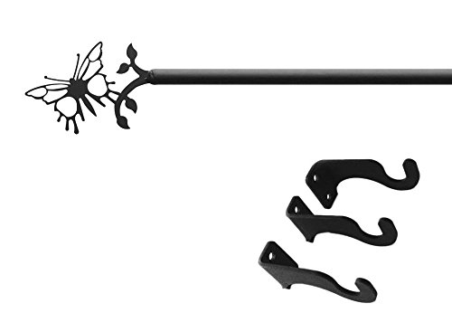Iron Butterfly Curtain Rod-Curtain Pole Only - Adjustable Rod Extends 36 Curatin To Outdoor Rail 超目玉 no 60 直営店 B00IEYI7JU Works hardware Indoor by