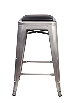 GIA 24-Inch Backless Counter Height Stool with Faux Leather Seat, Gunmetal Black, 1-Pack