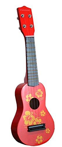 Toy Ukulele 4 string Hawaiian Theme Uke Guitar for Kids - Red (Hawaiian Four)