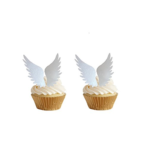 GEORLD 24pairs Edible Angel Wings Wafer Cupcake Toppers Wing Cake Decoration for Anniversary, Birthday Party & Wedding]()