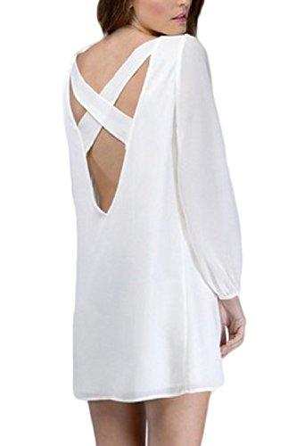 La Mujer Es Elegante De Manga Larga T - Shirt Blusas Tops Flare Backless Verano White