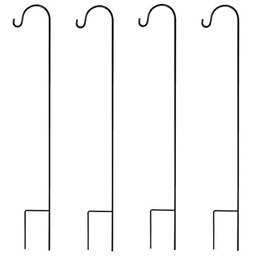GrayBunny Premium Shepherd's Hooks 35 Inch Black For Hanging Solar Lights, Bird Feeders, Mason Jars, Plant Hangers Flower Basket Christmas Lights Lanterns Garden Stakes Wedding Decor for Rustic Look