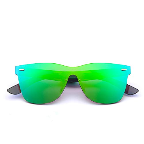2020VentiVenti Mirrored Sunglasses for Cool Men Women One Piece Square Lens Rimless Frame Colored Glasses for Beach/Fashion PC1601C02 (Green,Revo)