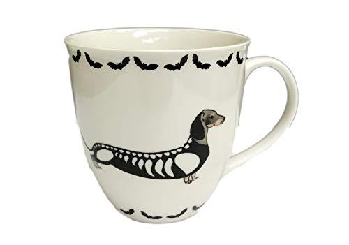 Happy Howloween Dachshund Wiener Dog in Skeleton Costume Play on Words 16 oz Novelty Halloween Coffee Tea Drink Gift