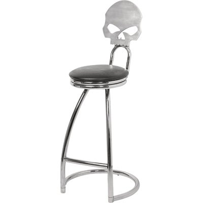 Harley-Davidson Skull Bar Stool with Back - Chrome-Plated Steel Base