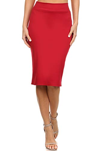 Womens Below the Knee Pencil Skirt for Office Wear - Made in USA, Red, Medium