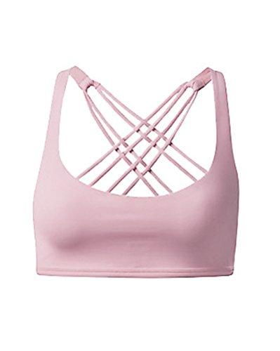 Sujetador Deportivo Alto Impacto Ligera Mallas Gym Cruzado Espalda Chaleco Deporte Ropa Para Mujer Pink