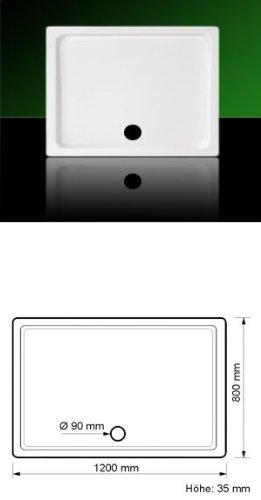 Acryl Duschwanne SUPERFLACH 90x75 mit Füßen+Ablaufset made in Germany