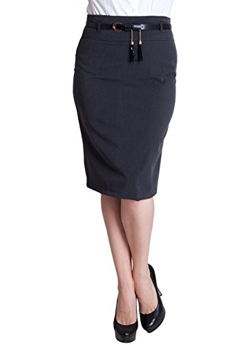 Ladies Charcoal Plus Size Tassel Belt Zipper Back Pencil Skirt