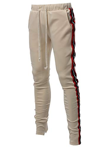 Style by William Casual Side Panel Long Length Drawstring Ankle Zipper Pants Khaki M