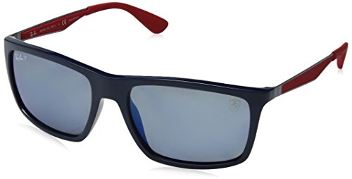 Ray-Ban Men's RB4228M Scuderia Ferrari Collection Rectangular Sunglasses, Blue/Polarized Blue Mirror, 58 mm (Sunglasses Collection)