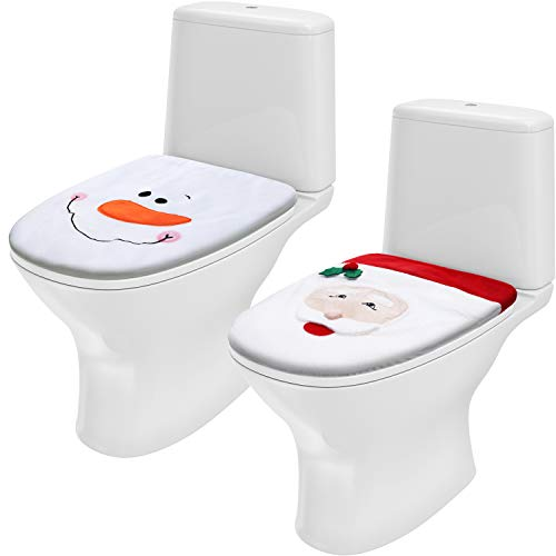 Boao 2 Piece Christmas Theme Toilet Lid Santa Toilet Seat Cover Happy Christmas Bathroom Decorations for Festival Supplies