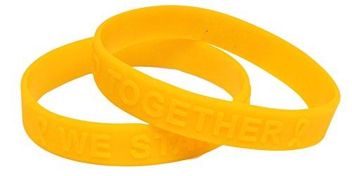 Gold Ribbon Awareness Embossed Silicone Bracelet Fundraiser 25 Pack