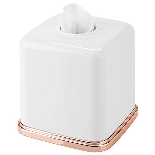 (mDesign Square Plastic Disposable Facial Tissue Box Cover and Holder for Bathroom Vanity Countertops, Bedroom Dressers, Night Stands, Desks, Tables - White/Rose Gold)