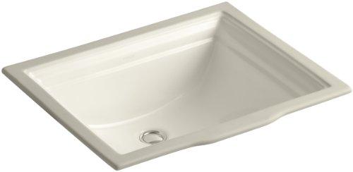 Memoirs Almond - Kohler 2339-47 Vitreous china undermount Rectangular Bathroom Sink, 24.75 x 20.5 x 9.88 inches, Almond