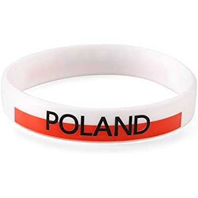 Komonee Poland White World Cup Olympics Silicone Wristbands Pack 10 Estimated Price £6.99 -