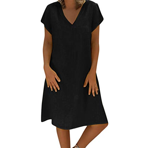 Sunhusing Ladies Summer Solid Color Comfortable Linen Short Sleeve Dress Loose Casual Plus Size Dress Black]()
