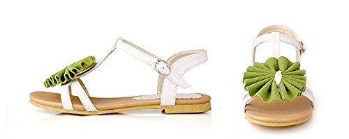 AIsun Womens Comfy Pretty Flower T Strap Flat Dress Sandals Green sG8Suou6