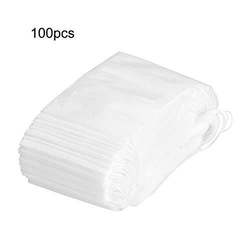 Empty Tea Bag, 100Pcs Disposable Empty Non-Woven Tea Bags Tea Filter Bags Spice Filter Loose Paper with Drawstring