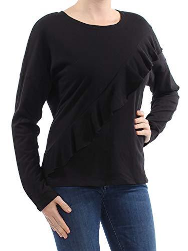 INC Womens Asymmetric Ruffled Sweatshirt Black M