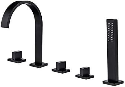 バスタブの蛇口真鍮の浴槽の蛇口3ハンドル5穴スクエアハンドルシャワーの蛇口節水装置付きデッキマウントバスルームバスタブタップハンドヘルドシャワー付き,黒