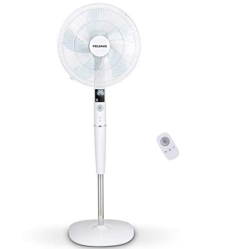 - PELONIS Fan, Quiet DC Motor Oscillating Standing Pedestal Fan with Powerful 26 Speed, 5 Silent Modes, 12h On/Off Timer, Adjustable Height and Tilt, Remote Control, 16-Inch, White