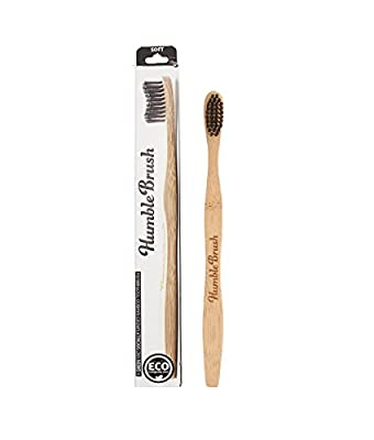 Humble Brush- Biodegradable Bamboo Toothbrush Adult- (2 pack) Buy 1 give 1 (Adult, Black)