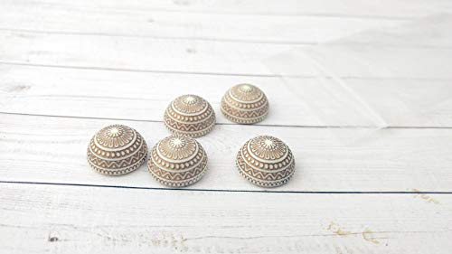 Hair Pins - Cabochon Bead Gold and White Flat Back Bead Round Cab Craft Supplies Hair Pin Bead Jewelry Making Hat Supply Set of 5 Component