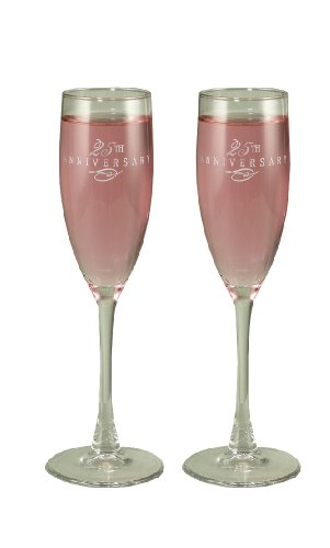 Hortense B. Hewitt Wedding Accessories 25th Anniversary Fluted Champagne Toasting Glasses, Silver Swirl,  Set of 2