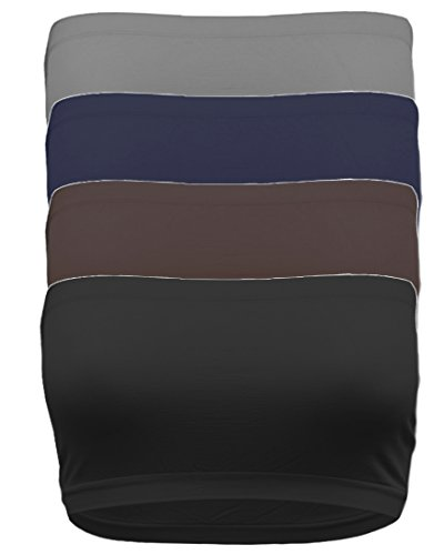 - TL Women's 4 Pack One Size Strapless Seamless Active Base Layer Bandeau Tube Top BK_Brown_NAV_Char