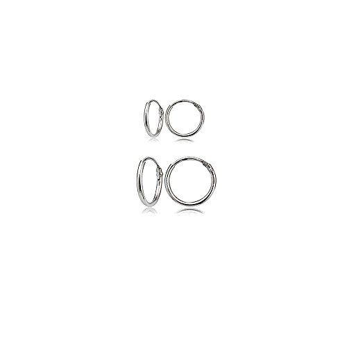 2 Pair Hoop Earring - 2 Pair Set Sterling Silver 10mm & 12mm Tiny Small Thin Round Continuous Endless Unisex Hoop Earrings