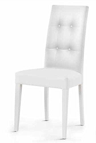 Montefioredesign - Set 2 sedie In Ecopelle Bianca Con Schienale ...