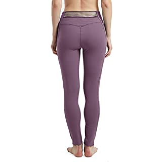 Womens Sexy Leggings with 3 Pockets High-Waist Yoga Tights Pants Tummy Control Stretch Legging M Lotus Root Starch