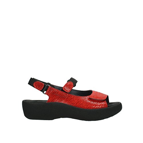 Wolky Womens 3204 Jewel Leather Sandals 750 red canals