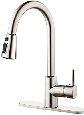TECCPO Kitchen Faucet, 3 Spray Modes Single Handle High Arc Brushed Nickel Faucet with Pull Down Sprayer, Mixed Hot and Cold Kitchen Sink Faucet