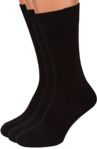 Premium Black Dress Socks Men, 3 packs Rich European Organic Cotton Crew AIR SOCKS (Black, L) ()