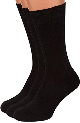 - Premium Black Dress Socks Men, 3 packs Rich European Organic Cotton Crew AIR SOCKS (Black, L)