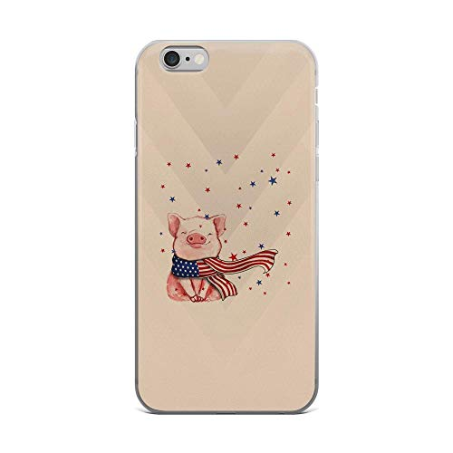 - iPhone 6 Plus/6s Plus Pure Clear Case Cases Cover Watercolor Cute Pig and U.s Flag