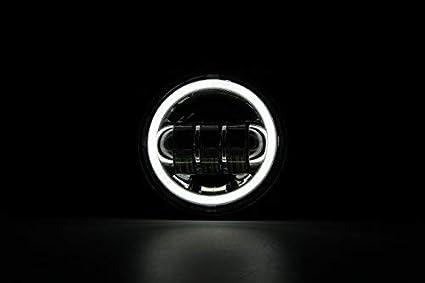noir SKUNTUGUANG 1 paire 4,5 pouces antibrouillard /à led avec des yeux dange pour Harley Davidson