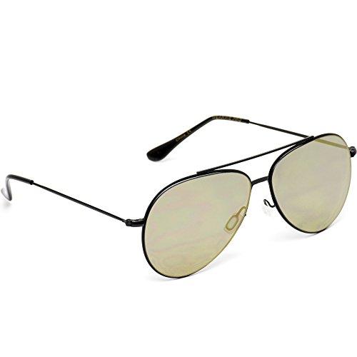 WearMe Pro - Modern Metal Frame Aviator Sunglasses Black Frame / Flashing Gold Lens