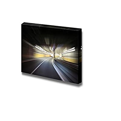 Canvas Prints Wall Art - Driving on The Night Road Speed Concept Motion Blur | Modern Wall Decor/Home Decoration Stretched Gallery Canvas Wrap Giclee Print & Ready to Hang - 16