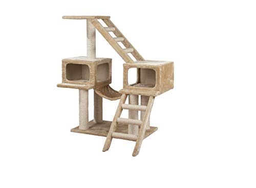 Cat Playground Trixie Malaga with 2 Condos and Hammock in Beige Finish