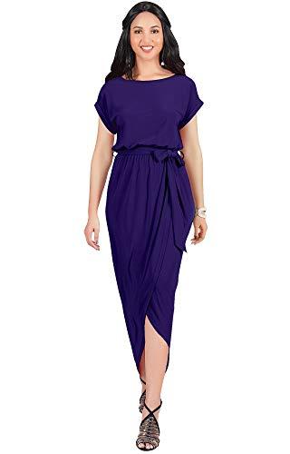 KOH KOH Plus Size Womens Long Crewneck Casual Short Cap Sleeve Sexy Slit Split Pencil Skirt Beach Spring Summer Gown Gowns Solid Stretchy Modest Maxi Midi Dress Dresses, Indigo Blue - Indigo Dress Purple Color