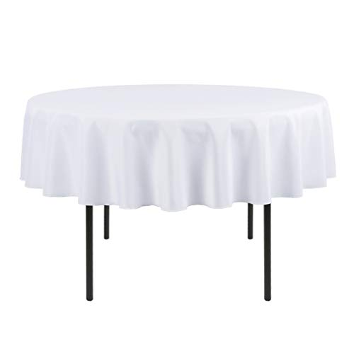 Waysle 70-Inch Round Tablecloth, 100% Polyester Washable Table Cloth for Circular Table, White (Cloth Round Table Inch 70)