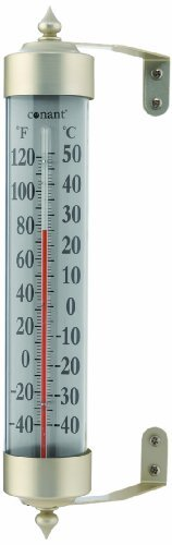 Grande View Rain Gauge (CONANT T16SN Grande View Thermometer, Satin Nickel)
