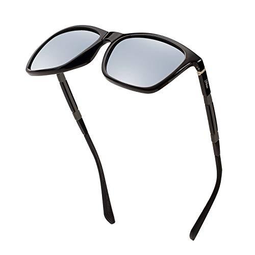 Men's Polarized Driving Sunglasses Retro Square Aluminum magnesium Alloy Temple Sun Glasses Unbreakable Spring Hinges Eyewear UV400 (Silver Lens/BrightBlack ()
