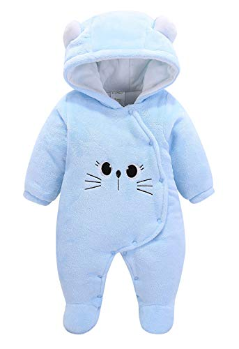 Baby Infant Warm Jumpsuit Cute Flannel Rompers Ear Long Sleeve Snowsuit Button Thick Bodysuit Cartoon Flannel Clothes Gift for Halloween Christmas Blue Cat 3 Months -
