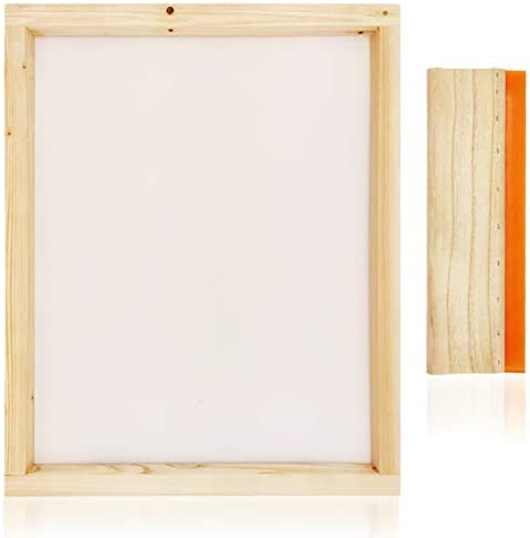Worown 1 pcs 16 x 20 Inch Wood Silk Screen Printing Frame with 160 White Mesh and 1 pcs 13.7 Inch Screen Printing Squeegee for Screen Printing